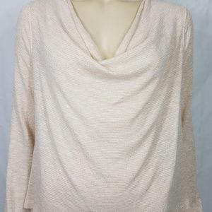 beige white striped cowl neck top Medium / Large